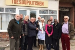 Presenting the cheque to the Southport Soup Kitchen
